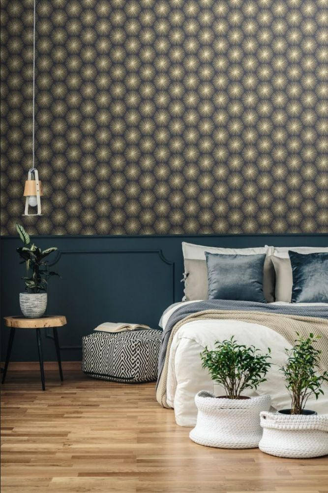 Graham and Brown Fire Circle Blue 105980 Wallpaper PB